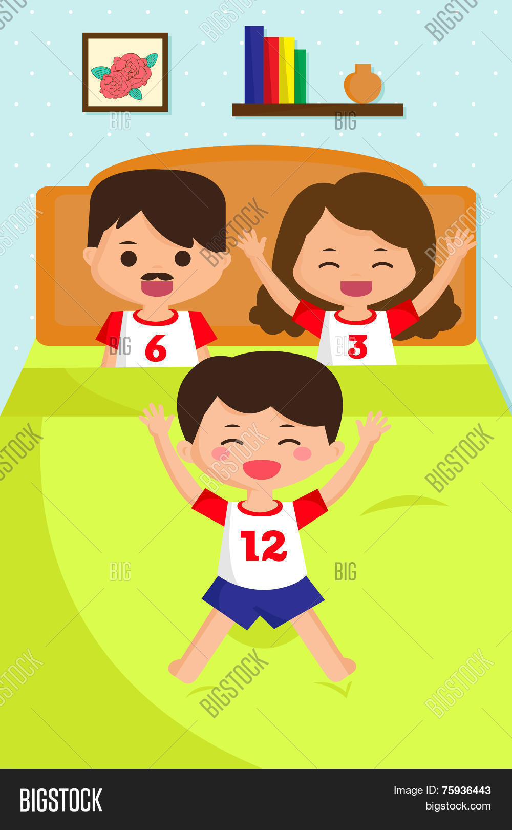 Jumping Kid On Bed Vector Photo Free Trial Bigstock