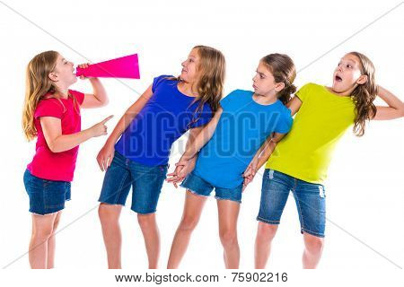 megaphone leader kid girl shouting speaking to friends on white background political leadership poster