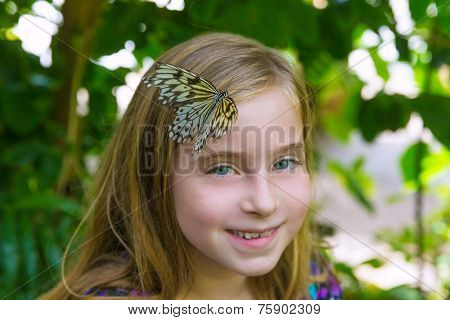 Girl butterfly in head Rice Paper Idea leuconoe at outdoor