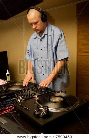 Hip-hop Deejay Playing Vinyl Record