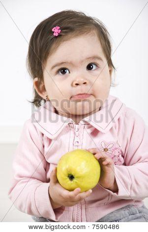 Silky Baby Holding An Apple