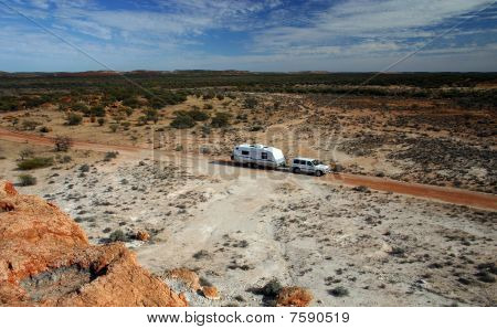 Receational vehicle in outback