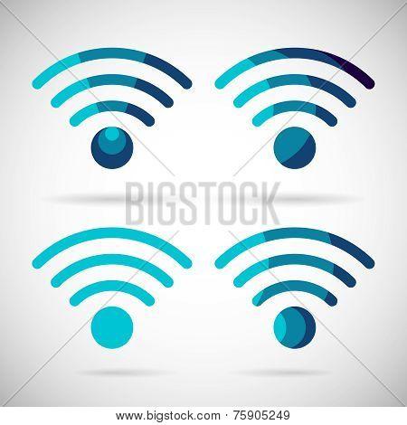 WiFi Icon Wireless Internet connection Flat Design Element Symbol Vector Illustration