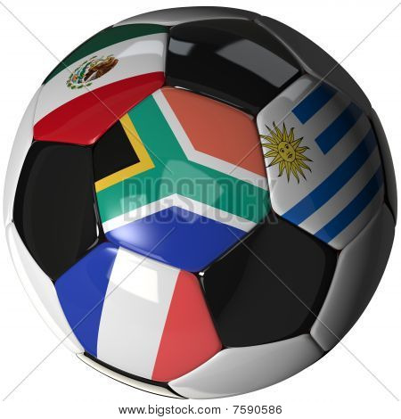 Soccer Ball Over White With 4 Flags - Group A 2010