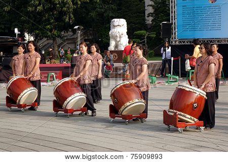 Group Of Female Percussion Players