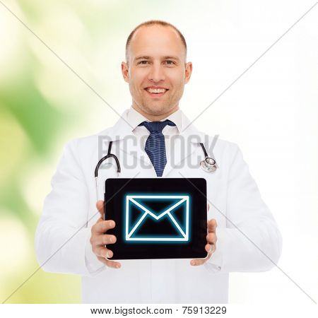 medicine, profession, and healthcare concept - smiling male doctor with stethoscope showing tablet pc computer screen over natural background