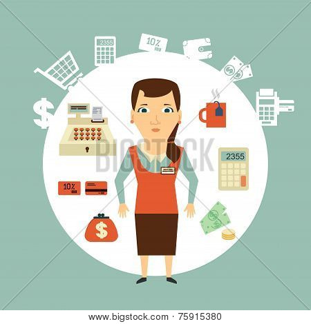 grocery store cashier illustration