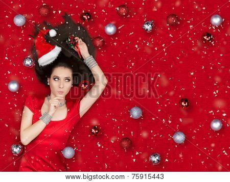 Amazed Christmas Girl Holding a Mistletoe
