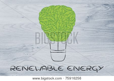 Air Balloon Made Of Leaves, Funny Interpretation Of Reneawable Energy