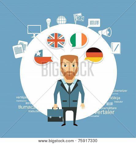 translator speak different languages   illustration