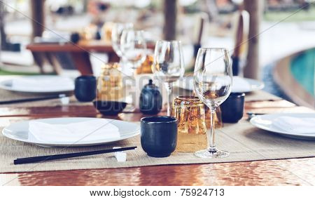 Table Place Settings at Upscale Outdoor Asian Restaurant