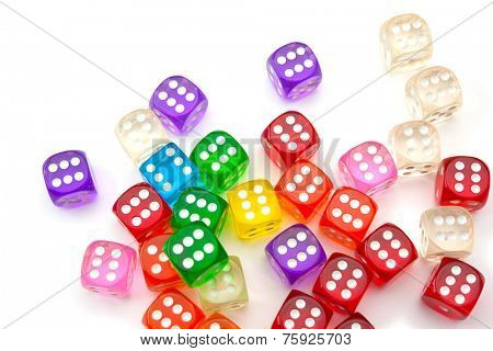 Colorful dice isolated on white. All six.