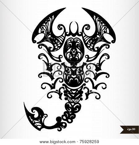 Zodiac signs black and white - Scorpio poster