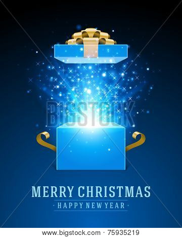 Open gift and light fireworks christmas vector background. Merry Christmas and Happy New Year message.