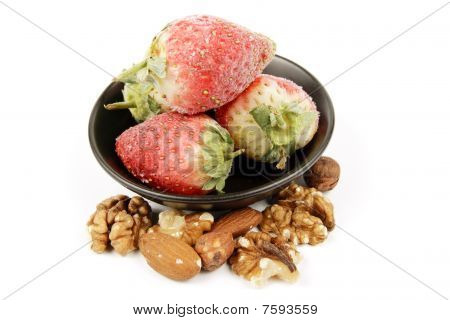 Frozen Strawberries And Nuts