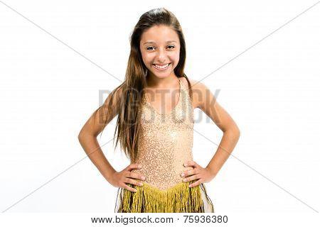 Teenger smiling in golden dress