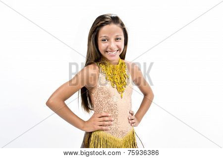 Teenger smiling in golden dress