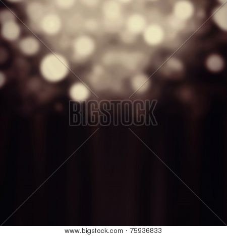 Abstract Festive Background. Glitter Vintage Lights Background With Gold And Black Lights, Defocused