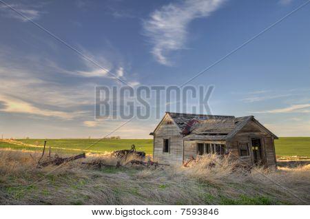 Abandoned Homestead On Prairie