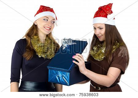 Photo of young women with the present