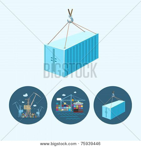Set Icons With   Container,  The Cranes With Containers In Dock, Vector Illustration