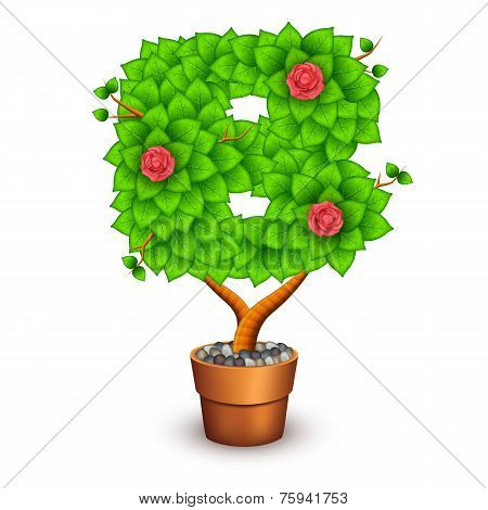 Isolated tree with flowers in clay pot. In the form of letter B. Vector illustration in eps10 poster