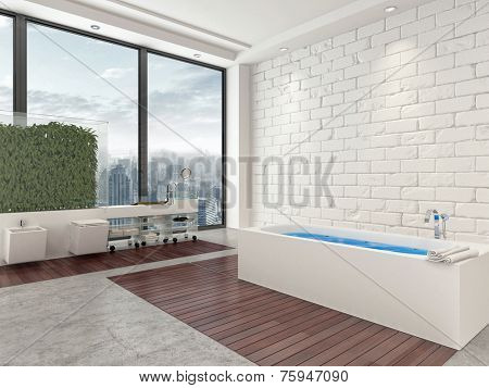 3D Rendering of Modern urban apartment bathroom interior with blue water in the tub, wood parquet floors and panoramic windows overlooking the town