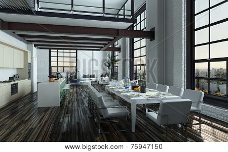 3D Rendering of Modern open-plan dining room kitchen interior with a large table with formal place settings in a long room with feature windows, a mezzanine and fitted kitchen appliances and counter