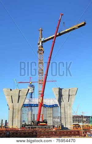 Setting Tower Crane In Construction Site