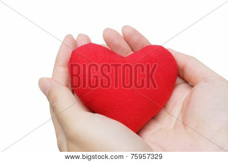 young woman hands holding a red heart