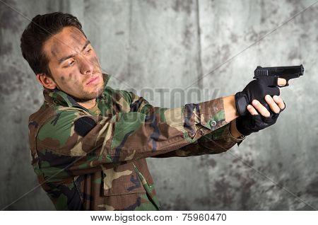 soldier militar latin man pointing a gun