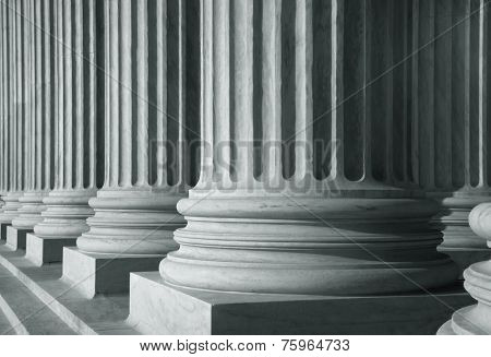 Row of tall pillars in monochrome color