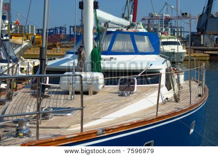 Yacht deck closeup