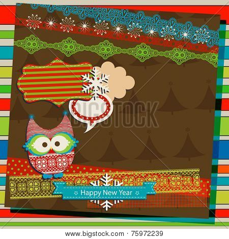 winter scrapbook template with cute owl poster