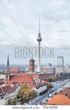Tv-tower And Rotes Rathaus (red City Hall) In Berlin