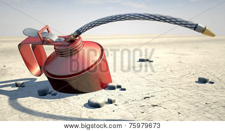 A regular oil can lying desolate in an arid desert on a hot midday sun background poster
