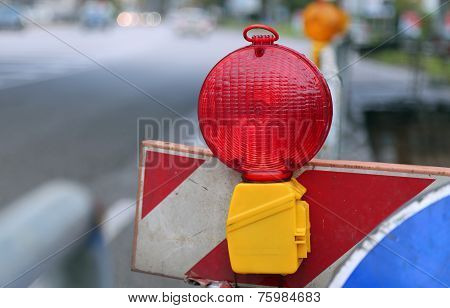 red lamp to signal roadworks and road works in progress poster