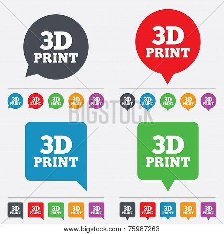3D Print sign icon. 3d Printing symbol.