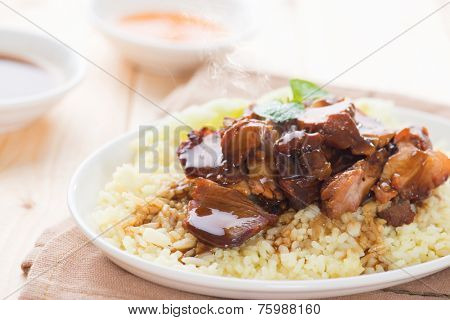 Char Siu Rice - Chinese sticky pork spare ribs roasted with a sweet and savory sauce served with boiled rice. Barbecued pork Char Siu Rice Malaysia cuisine. Fresh cooked with hot steam and smoke. poster