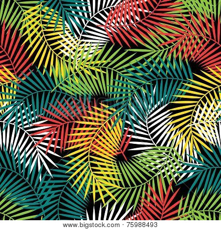 Seamless tropical pattern with stylized coconut palm leaves.