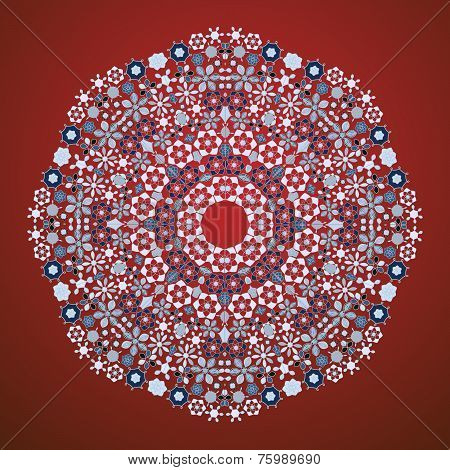 Ornamental round lace pattern.Delicate circle background with many details. poster