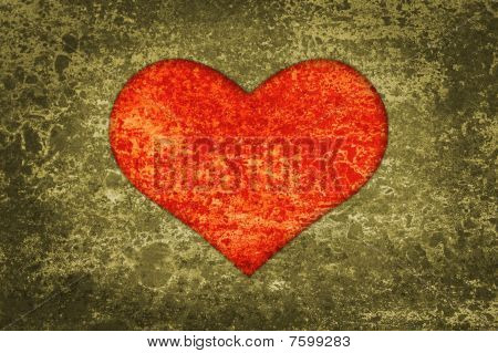 Red Heart Grunge Background And Texture.