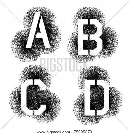vector stencil angular spray font letters A B C D