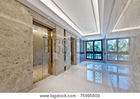 Lift Lobby In Beautiful Marble