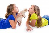 happy twin sister kid girls kissing puppy dog lying playing on white background poster