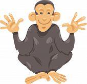 Cartoon Illustration of Funny Chimpanzee Ape Primate Animal poster