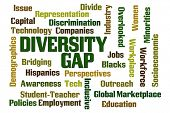 Diversity Gap word cloud on white background poster