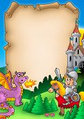 Fairy tale parchment 1 with knight and dragon - color illustration. poster