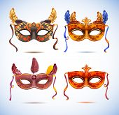 Carnival masks with feathers.  Masquerade party mask set poster