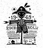 Illustration of vector vintage grunge label with scarecrow poster